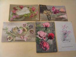 LOT DE 5 CARTES FANTAISIE...FLEURS....ANNIVERSAIRE. - Postcards