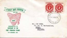 AUSTRALIA 1953, First Day Cover, 2 Fach Frankierung Auf Schmuckbrief - Ersttagsbelege (FDC)