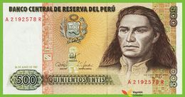 Voyo PERU 500 Intis 1987 P134b A-R  UNC Tupac Amaru II - Pérou