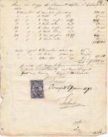 FACTURE RECU 7 Janvier 1873 - 10 Centimes QUITTANCES RECUS Et DECHARGES - - France