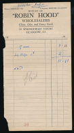 """Facture : """"Robin Hood"""", China, Glass And Fancy Goods, Springfiled Court, Glasgow, Ecosse, Porcelaine, Verre De Luxe... - United Kingdom"""