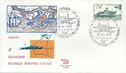 TARANTO - 4° CONGRESSO FILATELIA TEMATICA NAVALE-  10-6-1972 - Filatelia & Monete