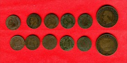 FRANCE -  NAPOLEON II - LOT: 2 CENTIMES 1854 D, 1855 A (2), 1862 A, 1862 K- 10 CENTIMES 1853 VISITE LILLE - France