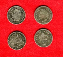 FRANCE -  NAPOLEON II - LOT:  2 X 20 CENTIMES 1867 A Et BB - Francia