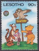 Lesotho 1986 Yvert 671, Christmas And 150th Anniversary Birth Mark Twain, Winnie Walt Disney, MNH - Lesotho (1966-...)