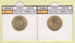 SPAIN /JUAN CARLOS I    1 PESETA  1.980 #81  Aluminium-Bronze  KM#816   Uncirculated  T-DL-9370 - [ 5] 1949-… : Royaume