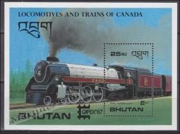 Bhutan - Bhoutan 1987 Miniature Sheet Yvert BF 132, Canadian Trains (II) - MNH - Bhoutan