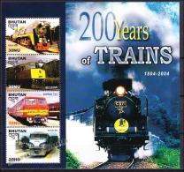 Bhutan - Bhoutan 2005 Yvert 1769-72, 200 Years Of Trains, Sheetlet - MNH - Bhutan