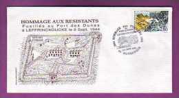ENVELOPPE PREMIER JOUR  - 59 - DUNKERQUE / LEFFRINCKOUCKE - WWII  / FORT DES DUNES / HOMMAGES AUX RESISTANTS - - Autres