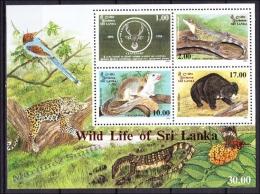 Sri Lanka 1994 Yvert BF 53, Centenary Fondation Wild Life Protection Society, Miniature Sheet - MNH - Sri Lanka (Ceylon) (1948-...)