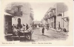 Biskra Algeria, Rue Des Ouleds Nails, Muslims Sit At Street Cafe, C1900s/10s Vintage Postcard - Biskra