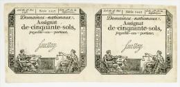 France - Planche De 2 Assignats - Cinquante Sols - Domaines Nationaux -  Sup  - Série 1227 - Assignats & Mandats Territoriaux