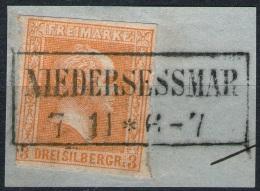 Niedersessmar 7/11 Auf 3 Silbergroschen Gelborange - Preussen Nr. 12b - Tief Geprüft BPP - Kabinett - Preussen (Prussia)