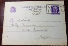 GENOVA 1940 23 Ottobre BIGLIETTO POSTALE 50 Cent Per RAPALLO - TIMBRO A TARGHETTA VISITATE L'ITALIA - 1900-44 Vittorio Emanuele III