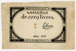 France -  Assignat -   Cinq  Livres -  TTB - Série 1856 - Assignats & Mandats Territoriaux