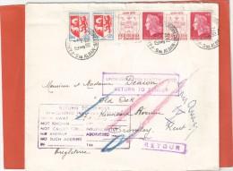 CHEFFER PAIREX2+ BLASON PAIRE AUCH SUR LETTRE PARIS 3/1/72 AU TARIF 2EM ECHELON POUR L ANGLETERRE AVEC CACHETS RETOUR - France