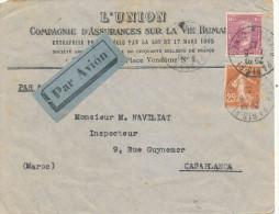 PARIS  LETTRE TIMBREE   PAR AVION 1935 - Algeria (1924-1962)
