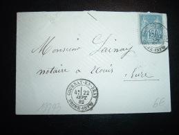 LETTRE TP SAGE 15C OBL. 22 SEPT 82 GOURNAY-EN-BRAY SEINE-INFRE (76 SEINE-MARITIME) - 1877-1920: Semi-moderne Periode