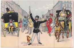 Carte Humoristique à Système - Le Gendarme & Les Fiacres - A Plier Sur Les Traits Bleu (3 Volets) [4780] - Mechanical