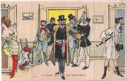 Carte Humoristique à Système - Le Maire & Les Amants - A Plier Sur Les Traits Bleu (3 Volets) [4781] - Mechanical