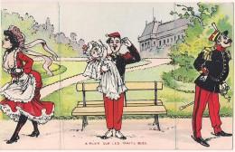 Carte Humoristique à Système - Le Militaire, La Femme & L'Enfant - A Plier Sur Les Traits Bleu (3 Volets) [4782] - Mechanical