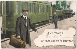 A L'Arrivée à Cherbourg Je Vous Envoie Le Bonjour - Train En Arrière Plan [4783] - Gares - Avec Trains