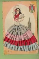 Belle CPA Brodée - Danseuse Espagnole - Andalucia - 2 Scans - Brodées