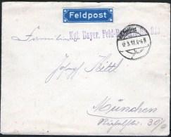 Kuvert Mit Feldpost Aufkleber - Kgl. Bayerische Feld Batterie No. 913 - 12.3.1917 München - Allemagne