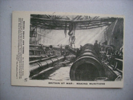 Cartolina Britain At War: Making Munitions. Moving Heavy Gun Tubes. Prima Guerra Mondiale - Manovre