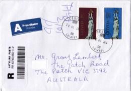 Latvia 2014 Registered Letter To Australia - Latvia