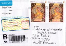 Czech Republic 2014 Registered Letter To Australia - Czech Republic