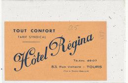 TOURS  Hôtel Régina Rue Voltaire  Publicité , Plan Dos - Tours