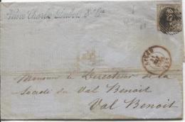 TP 10A 3 Marges Touché à Gauche P73 Liège 31/5/1857 De Madame Veuve Charles Dubois V.Val Benoit PR518 - 1858-1862 Medallions (9/12)