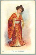 "Oriental Japanese Lady In Costume ""I Am Not A Russian"" Ca. 1905 Undivided Back Postcard (nn-35) - Jordan"