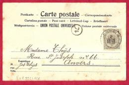 BR-5708  VORSELAER      Naar   ANVERS            Op   Zichtkaart (scan 2)  Kasteel Vorselaer     OCB  81 - 1893-1907 Armoiries