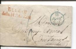 France LAC Gff Rge Bureau/de La Mon Du Roi+c.bleu 18/111831 Datée De Paris V.Coutances/Manche état Moyen PR526 - 1801-1848: Precursores XIX