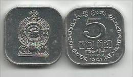 Sri Lanka 5 Cents 1991. UNC - Sri Lanka