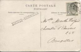 TP 81 S/CP Eglise De Wesembeek C.BXL Départ 28/8/1907 + Gff Wesembeek-Stockel V.BXL PR530 - Langstempel