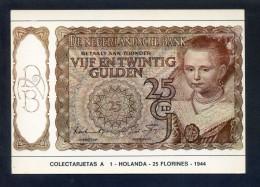 Colectarjetas A 1 - *Holanda - 25 Florines - 1944* Ed. Eurohobby. Nueva. - Monedas (representaciones)