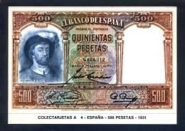 Colectarjetas A 4 - *España - 500 Pesetas - 1931* Ed. Eurohobby. Nueva. - Monedas (representaciones)