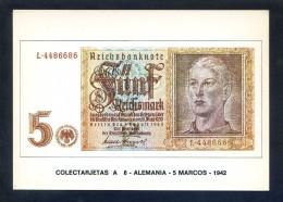 Colectarjetas A 6 - *Alemania - 5 Marcos - 1942* Ed. Eurohobby. Nueva. - Monedas (representaciones)