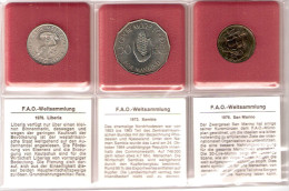 FAO 3 COINS LIBERIA, SAN MARINO, ZAMBIA UNC - Monnaies