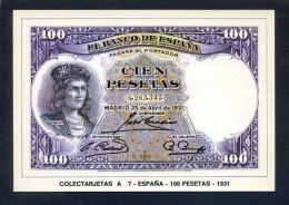 Colectarjetas A 7 - *España - 100 Pesetas - 1931* Ed. Eurohobby. Nueva - Monnaies (représentations)