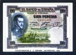 Colectarjetas A 3 - *España - 100 Pesetas - 1925* Ed. Eurohobby. Nueva. - Monedas (representaciones)