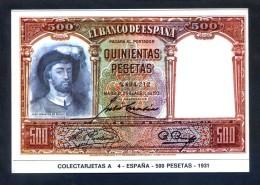 Colectarjetas A 4 - *España - 500 Pesetas - 1931* Dep. Legal B. 17383 - XVI. Nueva. - Monedas (representaciones)