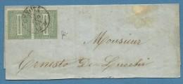 1864 GENOVA   SU COPPIA 1 C.(14) DLR   -  LETTERA COME DA FOTO - Marcofilía