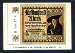 Colectarjetas A 10 - *Alemania - 5000 Marcos - 1922* Ed. Eurohobby. Nueva. - Monedas (representaciones)