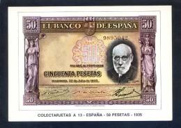 Colectarjetas A 13 - *España - 50 Pesetas - 1935* Ed. Eurohobby. Nueva. - Monedas (representaciones)