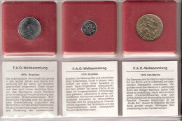 FAO 3 COINS BRAZILIE. SAN MARINO UNC - Monnaies