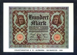 Colectarjetas A 15 - *Alemania - 100 Marcos - 1920* Ed. Eurohobby. Nueva. - Monedas (representaciones)